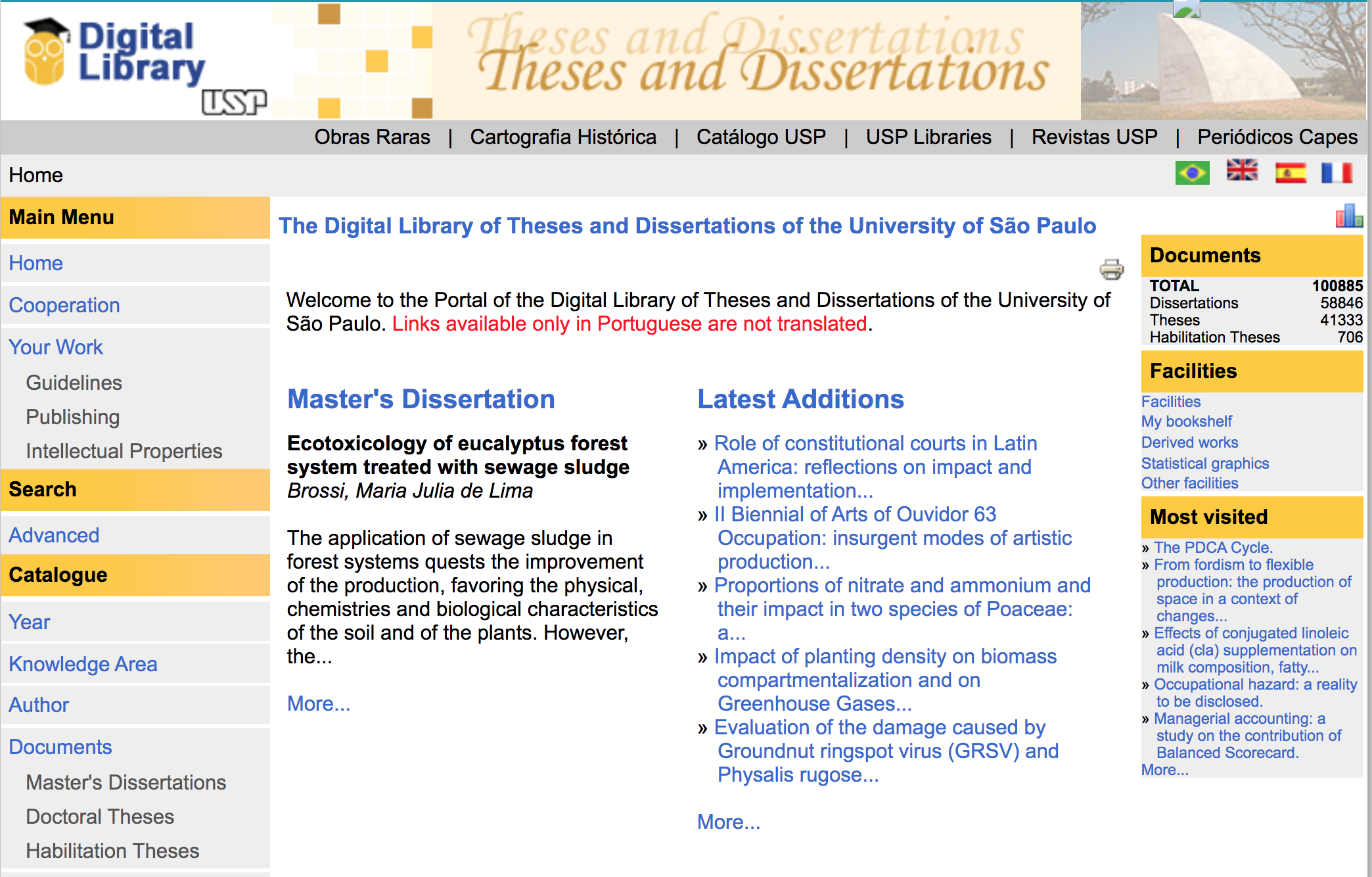 Portal of the Digital Library of Theses and Dissertations